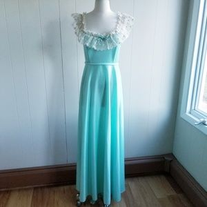 1960s Unlabeled Teal Poly Maxi Dress